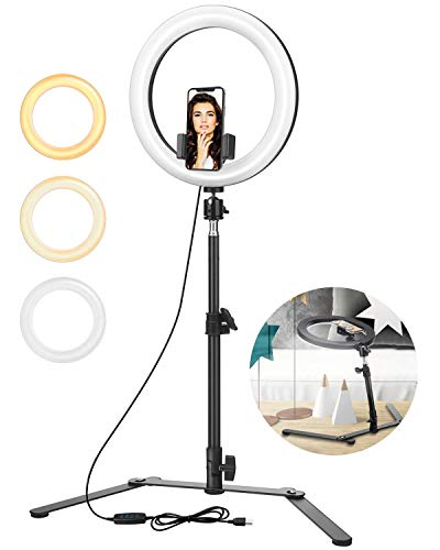 "ELEGIANT 10"" Selfie Ring Light with Tripod & Cell Phone Holder, Suitable for Looking Down Taking Picture Still Life, Gourmet, Painting,YouTube TikTok Photography Video Compatible with iPhone Android"