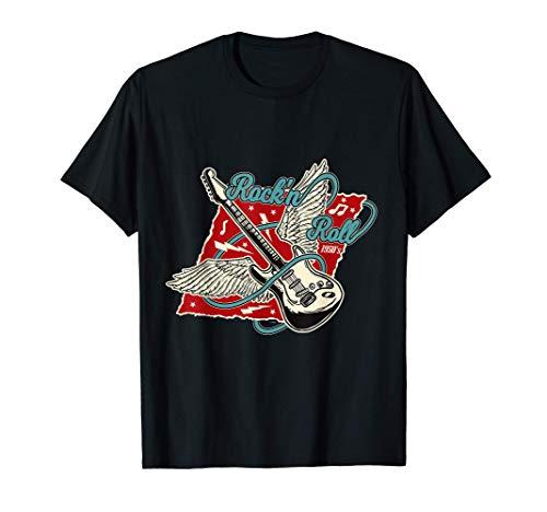 Rock'n'Roll Guitarra Alas de Ángel 1950s Rockabilly Rocker Camiseta