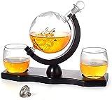 SHUKUILIUDT Carafe à Whisky Carafe à Décanter Whisky Carafe Set - Gravé Globe du Monde avec Crafted Verre Voile Shipe, Glace tenailles, Pierres à Whiskey, Bar Décoration d'alcool, 1000ML