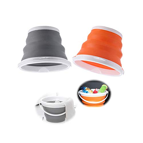 2 PCS Plegable portátil de Limpieza Cubo 5L, Cubo Plegable de plástico Bañera Redonda Plegable, Cubos plegables de Cubetas plegables Multiuso, portátil, plegable, para cocina, camping, pesca