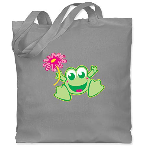 Shirtracer Blumen & Pflanzen - Frosch mit Blume - Unisize - Hellgrau - jutebeutel blumen - WM101 - Stoffbeutel aus Baumwolle Jutebeutel lange Henkel