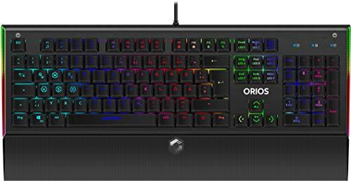 SPEEDLINK Orios RGB Opt-Mechanical Gaming Keyboard - Gaming Tastatur mit deutschem Layout (Widerstandsfähige Metall-Oberfläche - Abnehmbare Handballenauflage - kabelgebunden), schwarz