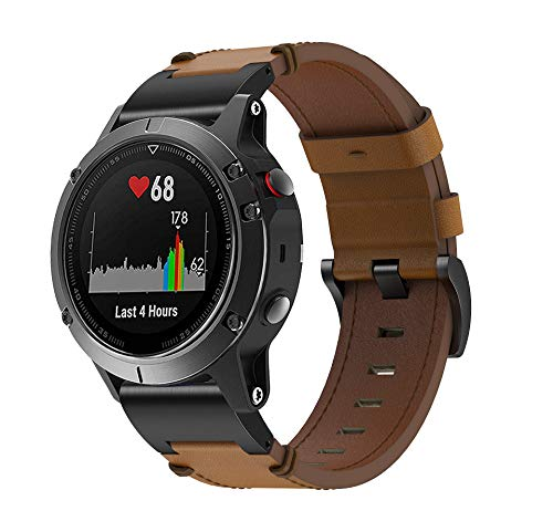 Songsier Fenix 6 Armband - Quick Fit Weiches Leder Sportarmband Uhr Band Strap Ersatzarmband Uhrenarmband für Instinct/Fenix 6 Pro/Fenix 5/Forerunner 935/Approach S60/Quatix 5