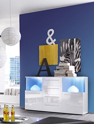 trendteam Sideboard weiss Glanz, inkl. Beleuchung, Farbwechsellicht 141,6 x 40,2 x 82 cm - 2