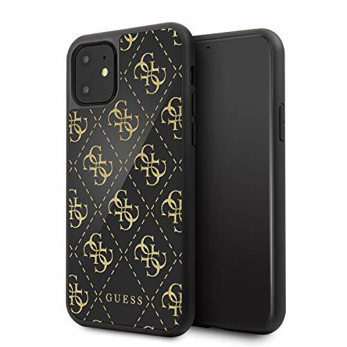 Guess Hülle aus der Silicone 4G Glitter Kollektion GUHCN614GGPBK für das iPhone 11, schwarz