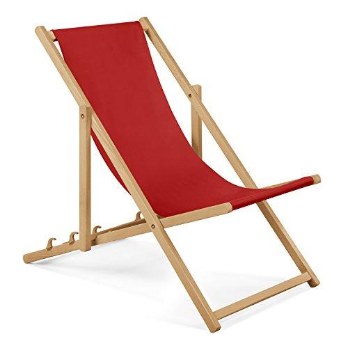 Unbekannt 2 x Gartenliege aus Holz Liegestuhl Relaxliege Strandliege (Rot) GRATIS Absicherndes Einstellungssystem
