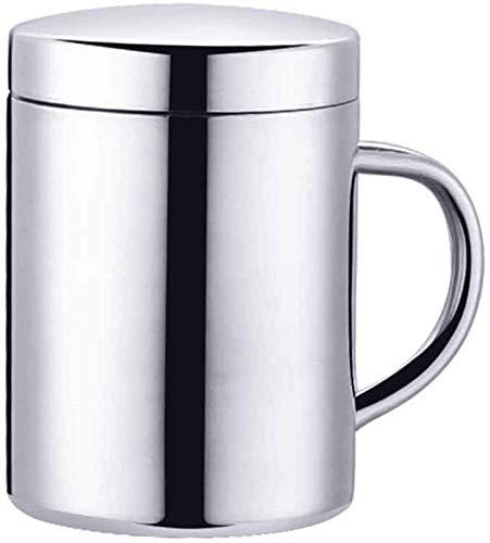 RENFEIYUAN Taza de café de Acero Inoxidable Taza térmica Doublewall con manija de la Tapa Copa aislada de Metal para Leche de Cerveza de Leche Bebidas frías Calientes Jarra de Cerveza (Size : Large)