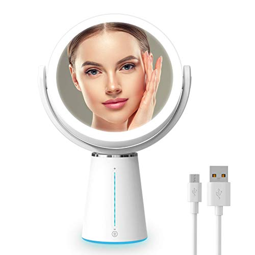 Gospire 7.5 Inch Lighted Makeup Mirror Rechargeable 10 Levels Brightness Vanity Mirror with 1X/10X Magnifying 52 LED Lights 360° Rotatable Dimmable Cosmetic Mirror for Countertop Makeup etc