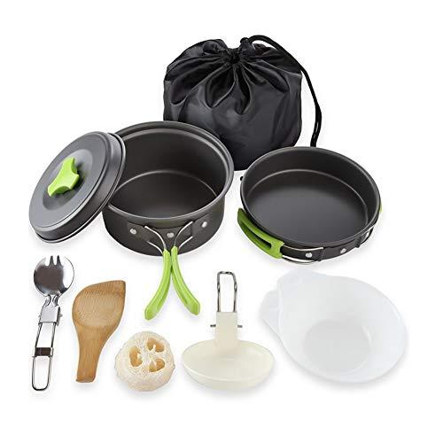 Towinle Set de casseroles de Camping pour l'extérieur et Le Camping Accessoires de Camping Portable/Camping avec Couvercle Anti-adhésif Kit Cookware pour l'extérieur Camping 1 à 2 Personnes