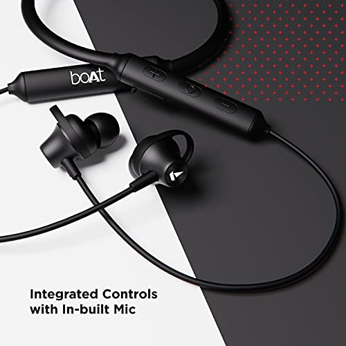 boAt Rockerz 245v2 Wireless Bluetooth V5.0, 8 Hours Playback Time, IPX5 Sweat and Water Resistance, in-Built mic and Voice Assistant(Active Black)