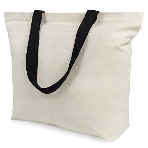 TOPDesign 12-Pack Canvas Tote Bags with Magnetic Snap, Reusable Grocery Shopping Bags, DIY Your Creative Designs