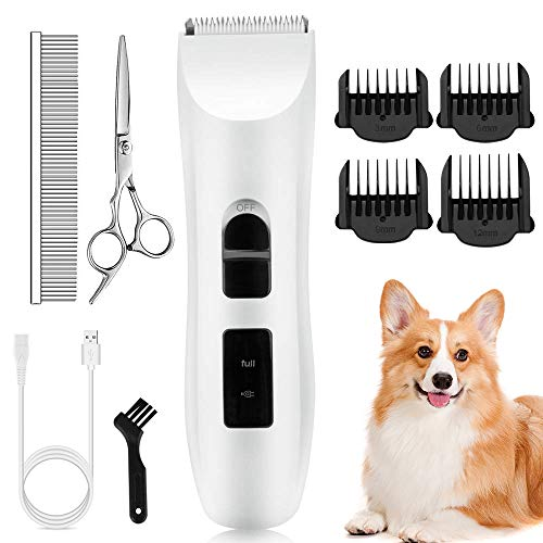 Nicewell Dog Clippers Cat Shaver, Low Noise Pet Grooming and Trimming Clippers Kit, USB Rechargeable Cordless Dog and Cat Grooming Set, Detachable Blade (Concise White)