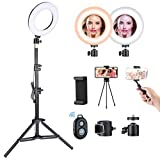 VicTsing Ring Light Tripod with 5 Light Modes & 5 Brightness, 3000K-6500K Dimmable LED Ring Light with Desktop Tripod/Adjustable Tripod Stand/Selfie Stick for Makeup Camera Shooting YouTube Video,tik tok, Yellow-White