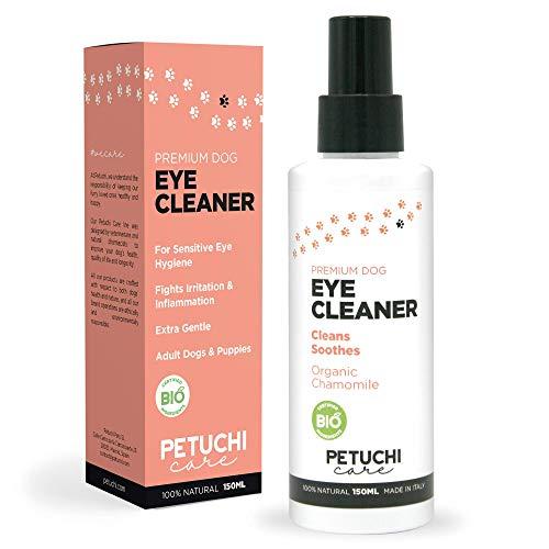 PETUCHI Limpiador de Ojos para Perros Bio; Desinfecta y Calma Ojos Irritados; Spray Colirio 100% Natural; 150ml