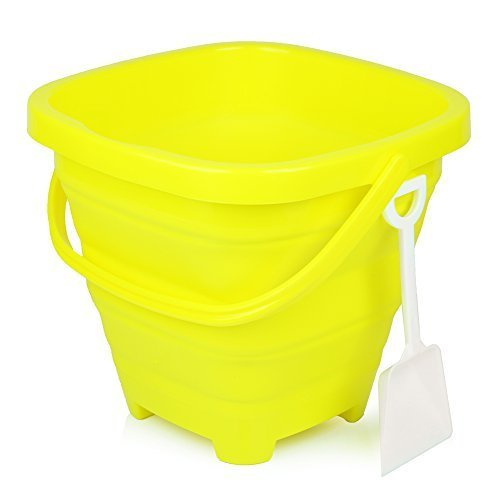 Packable Pails - Collapsible Silicone Beach Sand Bucket [5 Liter] with Handle + Shovel | Sand Castle, Beach Vacation, Travel, Camping, Fishing, Outdoors, Water, Gardening, Cleaning, Car wash (Yellow)
