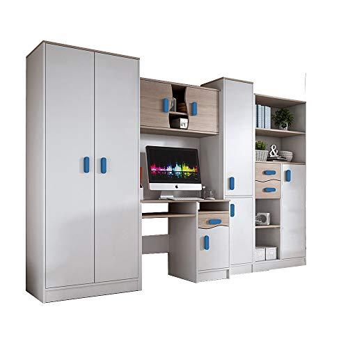 Idzczak Meble Wohnwand Matthias, Modern Kinderzimmer-Set, Anbauwand, Schreibtisch, Komplett, Schrank, Jugendzimmer (Blau)