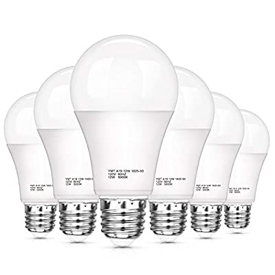 Dusk to Dawn Light Bulb, 12W(100Watt Equivalent) A19 Photocell Sensor Lights Bulbs, LED Automatic On/Off, 1200 Lumens, 5000K Daylight White for Outdoor Porch Patio Garage Yard Garden, 6 Pack