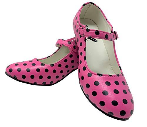 Zapato Flamenco Baile sevillanas niña,Mujer Rosa Lunares 28