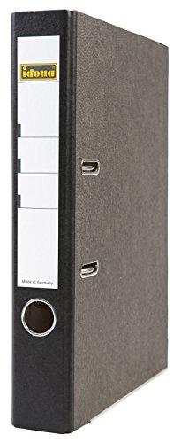 Idena 303002 - Ordner für DIN A4, 5 cm schmal, FSC-Mix, Wolkenmarmor, schwarz, 1 Stück