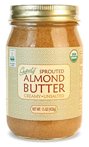 Gopal's Organic RAW SPROUTED Almond Butter, USDA Organic an Gluten-Free, Creamy and Unsalted, 15 Ounce (433 Grams) Glass Jar