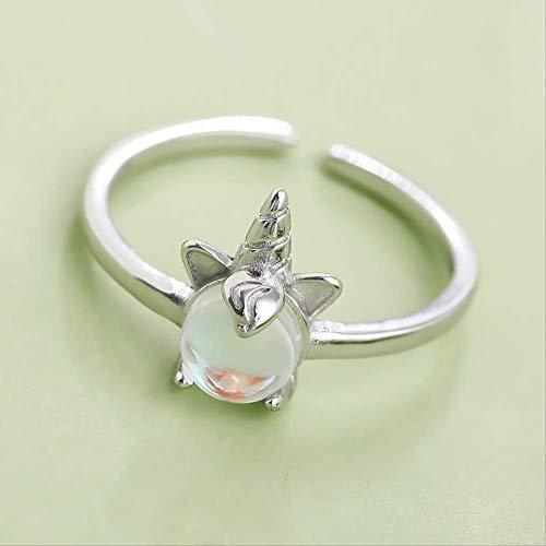 Xudong Commerce and Trade S925 - Anillo de Unicornio para Mujer (Plata de Ley 925)