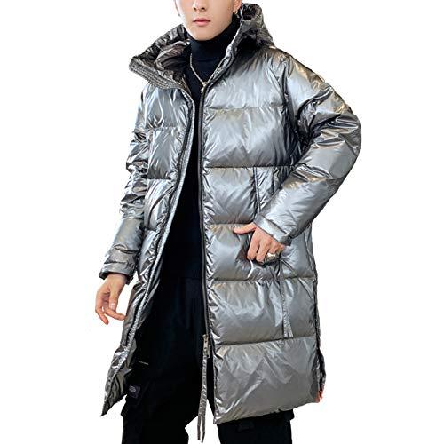Chaqueta de plumón de pato blanco de invierno, capa de longitud media, suelta, brillante, con capucha cálida (M-3XL)-Plata-L