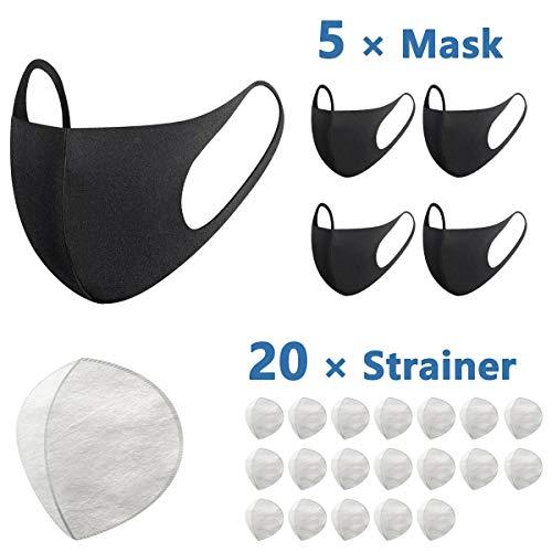 Maschera Riutilizzabile, 5 Pezzi Maschera Viso in Cotone ad Aria Riutilizzabile Comoda Traspirante Sicurezza Antipolvere Maschere Anti Haze Maschere 3D Nere per Universale (Nero-2)