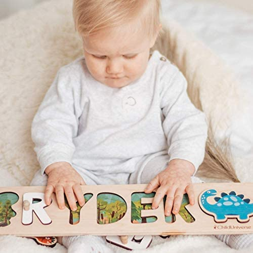 Personalized Wood Name Puzzle With Pegs Custom Design Toddler Name Puzzle For Girls Boys Nursery product image