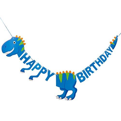 BESTOYARD Pancarta para cumpleaños con diseño de dinosaurios, color azul