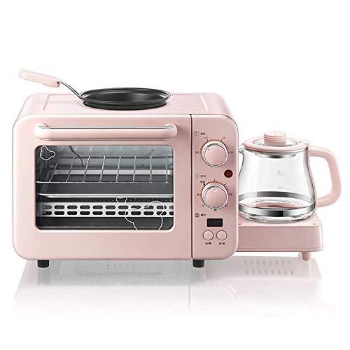 LHJCN Máquina de Desayuno multifunción Mini Horno eléctrico para el hogar Sartén para Hornear Pasteles Sartén para Beber Caliente Tostadora Rosa