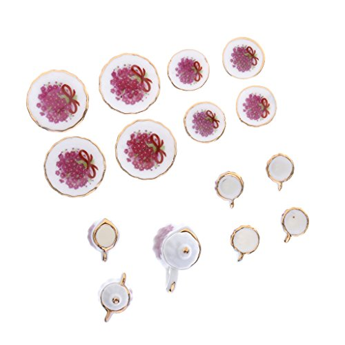 Sharplace 17 Pieces 1/12 Porcelain Tea Set Beautiful Dollhouse Flower Print Design