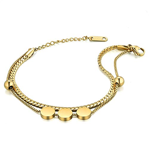 Flongo Fußkettchen Freundschaftsarmband Freundschaftsarmbänder für 2 Armband Armkette Fußkette Kugel Gold Elegant Damen Mädchen