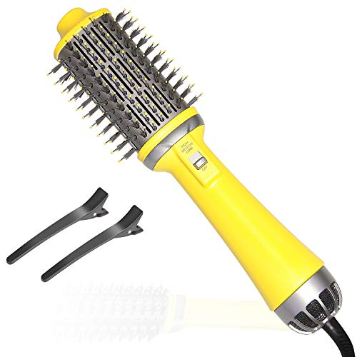 Chimpuk Cepillo de aire caliente de un paso, secador de pelo profesional de 70 dB y voluminizador y estilizador para alisar, rizar, secador de pelo multifuncional, cepillo de salón negativo, cerámica