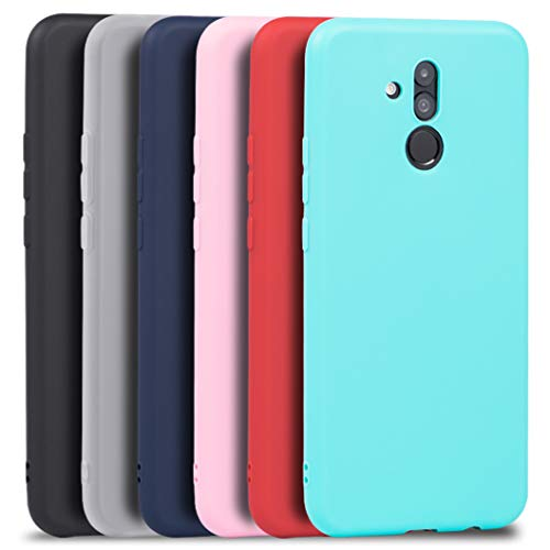 Wanxideng 6 x Funda Huawei Mate 20 Lite, Carcasa Suave Mate en Silicona TPU - Soft Silicone Case Cover - 6 Fundas de Colores [ Negro+ Rojo+ Azul Oscuro + Rosa + Verde Menta + Traslucido ]