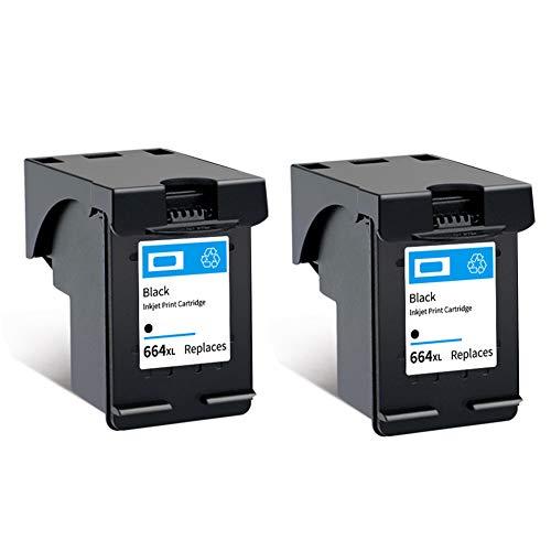 SSBY Cartuchos de Tinta remanufacturados de Repuesto para HP 664 664XL, para Impresora HP Deskjet Ink Advantage 1115 1118 2135 2136 2675 5075 5275 3635 3636 3638.-2black