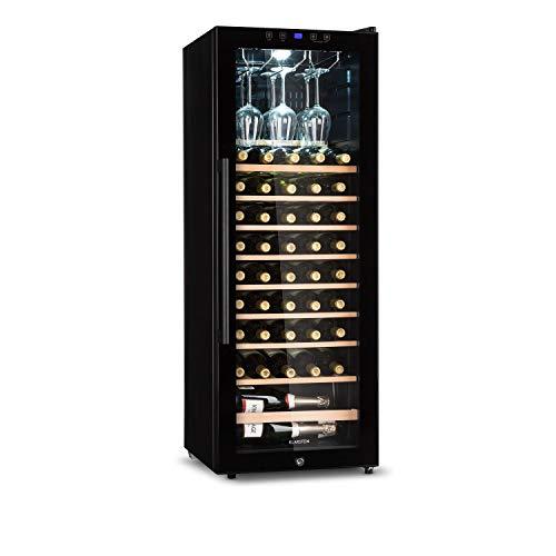 KLARSTEIN Barossa - Cave à vin, Température réglable entre 5 et 18 °C, Éclairage intérieur LED, Pieds réglables en hauteur, Entretien facile, Clayettes en bois - 54 bouteilles, Noir