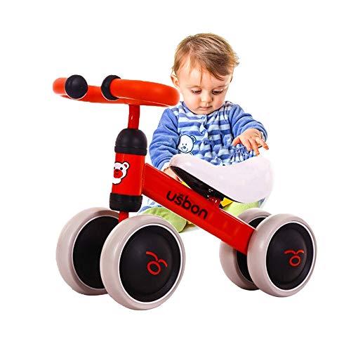 Arkmiido Kinder Laufrad Spielzeug für 1-3 Jahr, Lauflernrad für Baby und Kinder, Lauflernrad 4 Rädern, Baby Balance Fahrrad (Rot)