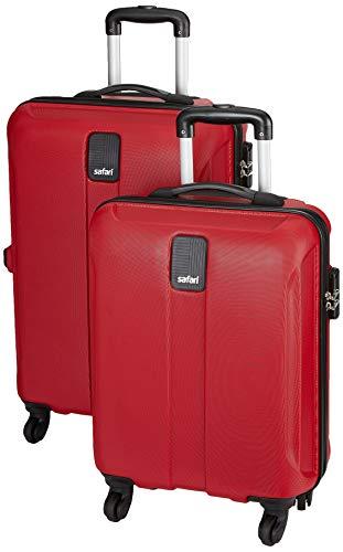 Safari Thorium Sharp Anti-Scratch Combo Set of 2 Red Small, Medium Check-in 4 Wheel Hard Suitcase