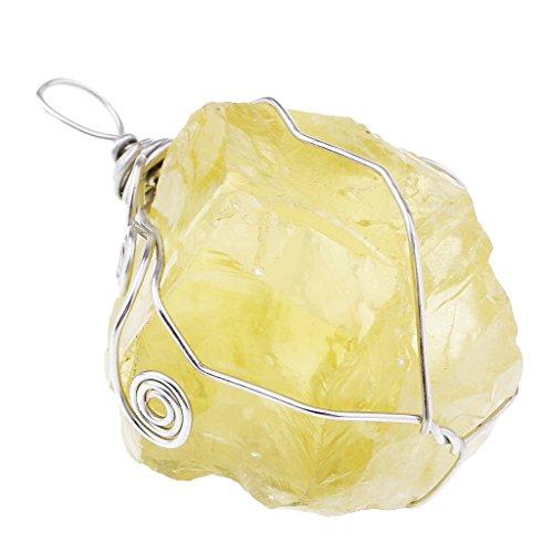 SM SunniMix Colgante de Cristal de Citrino Natural, Piedra Amarilla a Granel para Hacer Joyas de Bricolaje, Collar Colgante de Hombres/Mujeres