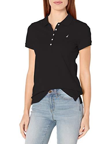 Nautica Women's 5-Button Short Sleeve Breathable 100% Cotton Polo Shirt, True Black, Large
