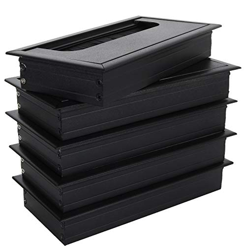 Paquete de 5 ojales para mesa de escritorio, 80 x 160 mm, rectangular, ojal de cable de aluminio, cubierta de orificio de alambre cuadrado, organizador de cables, color negro