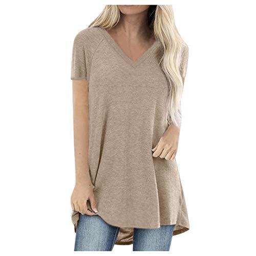 Damen Longshirt Kurzarm Tshirt Oversize Oberteile große größen Elegant Sommer V-Ausschnitt Lässig Loose Bluse Teenager Mädchen Casual Basic Tee Tunika Mode Tops