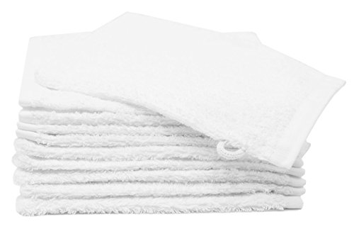 ZOLLNER 10 Manoplas de baño de Rizo algodón 100%, 16x21 cm, Blancas