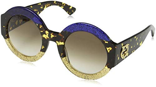 Gucci GG0084S 002 Gafas de sol, Azul (Bluee/Brown), 51 para Mujer