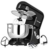 CHEFTRONIC Stand Tilt-Head Kitchen Electric Dough Mixer for Household Aids 120V/650W 5.5qt Stainless Steel Bowl, Large, SM986-Black