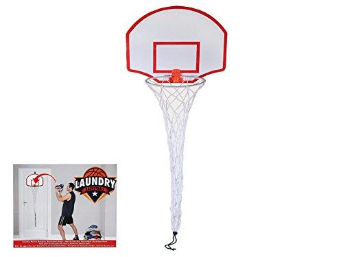 Basketballkorb Wäschenetz, ca. 120 x 40 x 25 cm mit Haken zum Aufhängen an der Tür ohne Bohrlöcher, Korbdurchmesser 20 cm