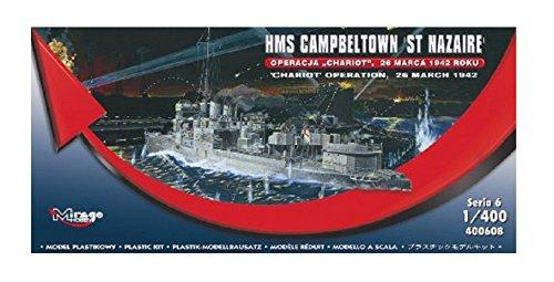 Mirage Hobby 400 608, 1: 400 Žchelle, le fonctionnement HMS CAMPBELTOWN 'ST NAZAIRE' 'Chariot', kit de mod_le en plastique