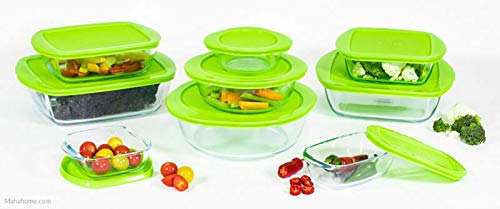Pyrex Cook & Store 18 Piece Glass Storage Dishes Green Plastic Lid