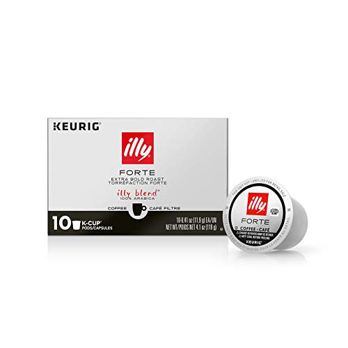 illy Coffee, K-Cup Pods for Keurig Machines, Forte, Extra Dark Roast, 100% Arabica Bean Bold Signature Italian Blend, Premium Gourmet Roast, Brewed, Drip, 10 Count (Pack of 6)