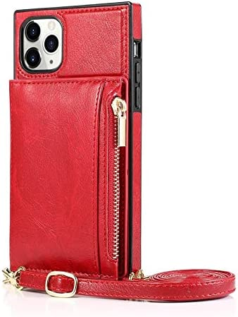 ELKeyko for iPhone 11 Pro Case, Zipper Wallet Case with Credit Card Holder/Crossbody Long Lanyard, Shockproof Leather TPU Case Cover for iPhone 11 Pro Phone Wallet (Color : Red)
